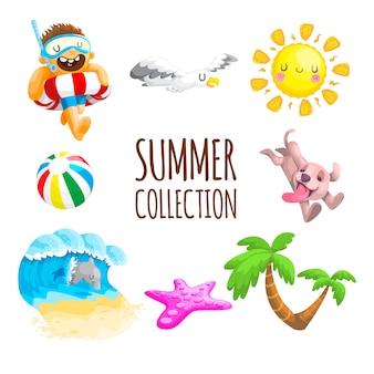Collection d'été de vecteur mignon