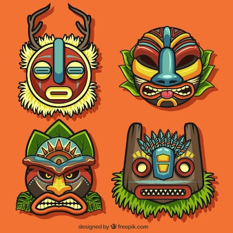 Collection ethnique de masques tiki