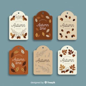 Collection d'étiquette automne vintage