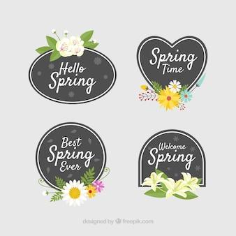 Collection d'étiquette ou de badge printemps plat