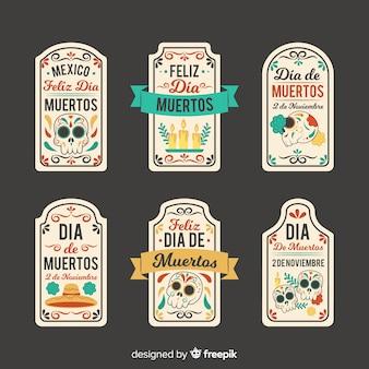 Collection d'étiquette dia de muertos sur design plat