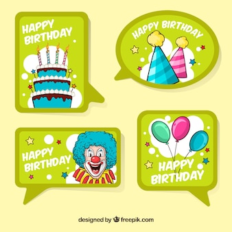 Collection de l'étiquette du joyeux anniversaire