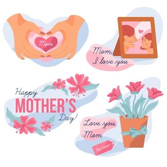 Collection d'étiquette fête des mères