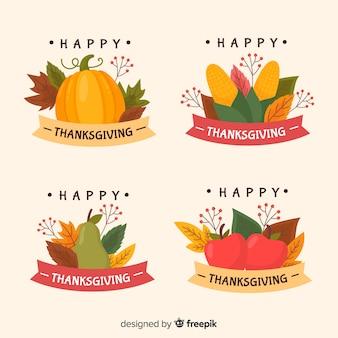 Collection d'étiquette de thanksgiving dessinée à la main