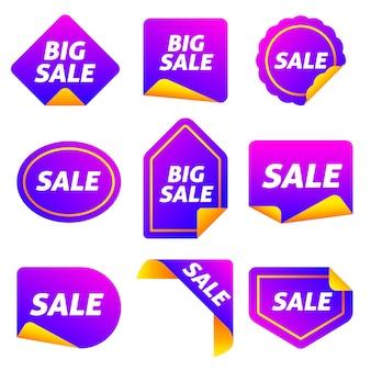 Collection d'étiquette de vente colorée