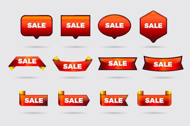 Collection d'étiquette de vente rouge