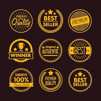 Collection d'étiquette vintage et d'icône