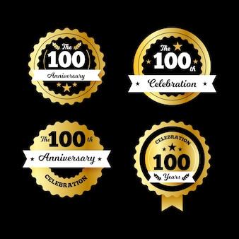 Collection d'étiquettes 100% anniversaire