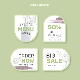 Collection d'étiquettes alimentaires aquarelle