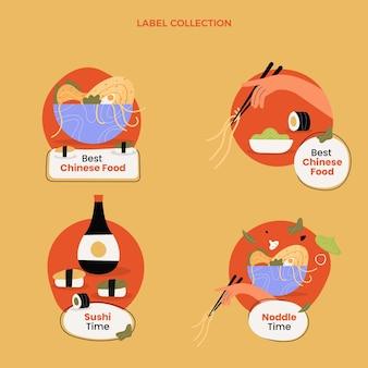 Collection d'étiquettes alimentaires design plat
