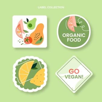 Collection d'étiquettes alimentaires plates