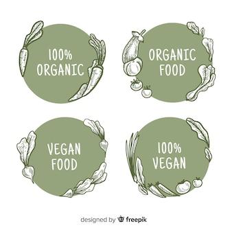 Collection d'étiquettes d'aliments biologiques dessinés à la main cerclé