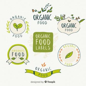 Collection d'étiquettes d'aliments biologiques dessinés à la main