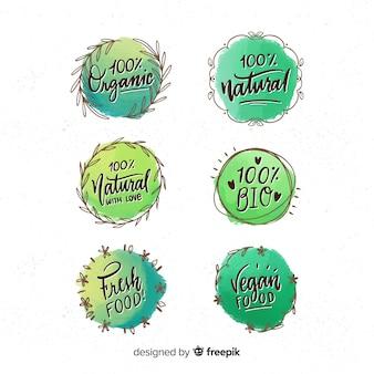 Collection d'étiquettes d'aliments biologiques encerclés