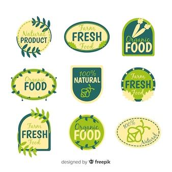 Collection d'étiquettes d'aliments biologiques et plats