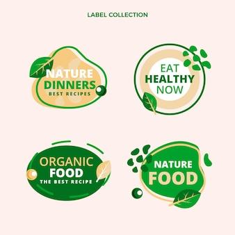 Collection d'étiquettes d'aliments biologiques plats