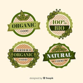 Collection d'étiquettes d'aliments biologiques vintage