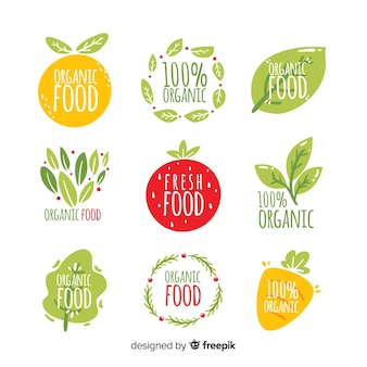 Collection d'étiquettes d'aliments naturels dessinés à la main