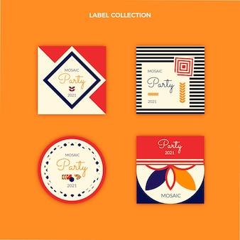 Collection d'étiquettes d'anniversaire en mosaïque plate