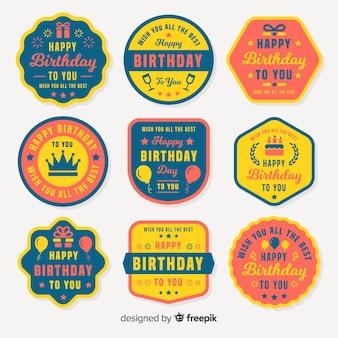 Collection d'étiquettes anniversaire plates