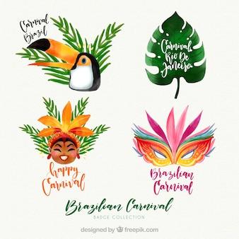 Collection d'étiquettes aquarelle de carnaval