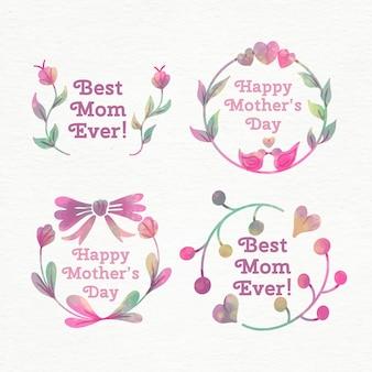 Collection d'étiquettes aquarelle fête des mères