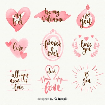 Collection d'étiquettes aquarelle saint valentin