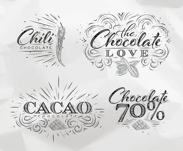 Collection d'étiquettes au chocolat