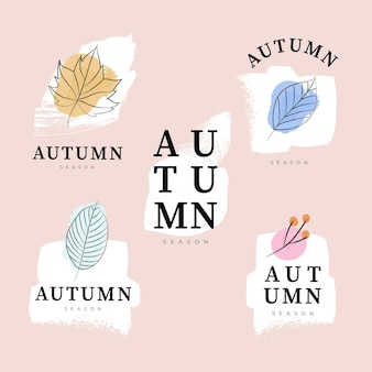 Collection d'étiquettes d'automne aquarelle