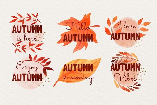Collection d'étiquettes automne aquarelle