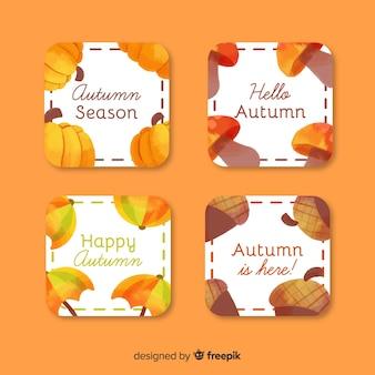 Collection d'étiquettes d'automne aquarelles