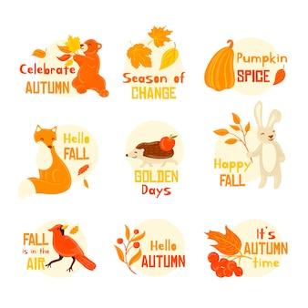 Collection d'étiquettes d'automne créatives