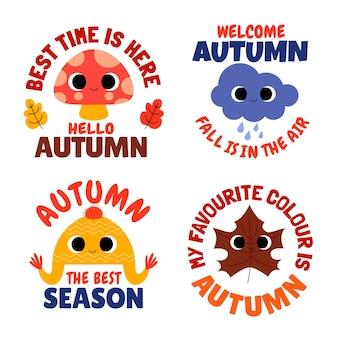 Collection d'étiquettes d'automne de dessin animé