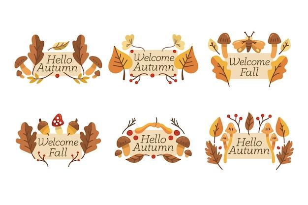 Collection d'étiquettes d'automne dessinées à la main
