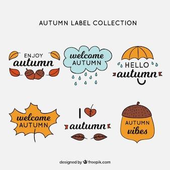 Collection d'étiquettes automne dessinés à la main