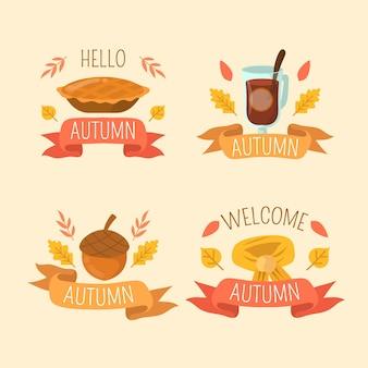 Collection d'étiquettes d'automne dessinés à la main