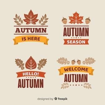 Collection d'étiquettes d'automne plat