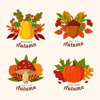 Collection d'étiquettes automne plat