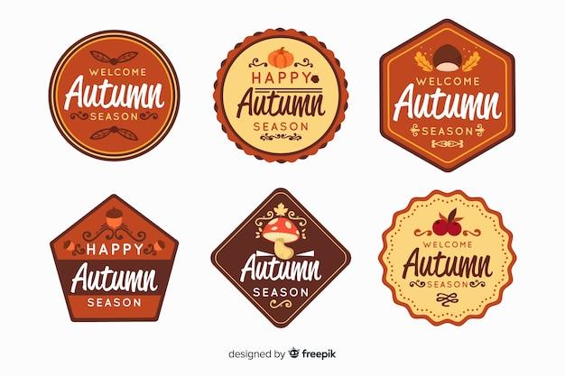 Collection d'étiquettes automne style plat