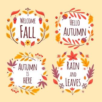 Collection d'étiquettes d'automne