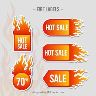 Collection d'étiquettes / badge feu design plat