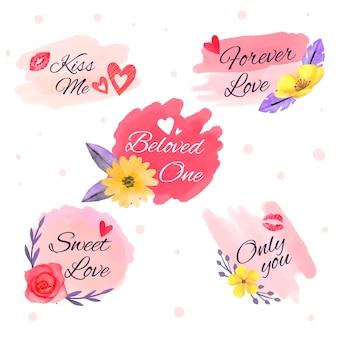 Collection d'étiquettes / badges aquarelle saint valentin