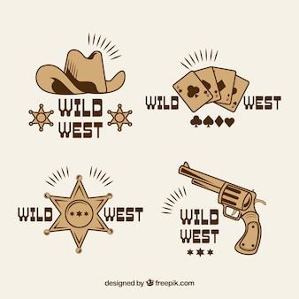 Collection d'étiquettes et de badges cowboy