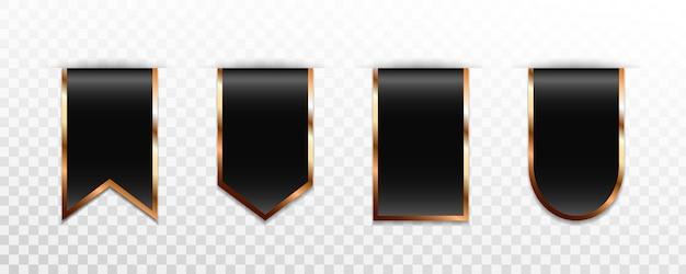 Collection d'étiquettes, de badges ou d'étiquettes en or noir de qualité supérieure