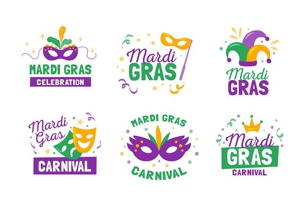 Collection d'étiquettes / badges mardi gras