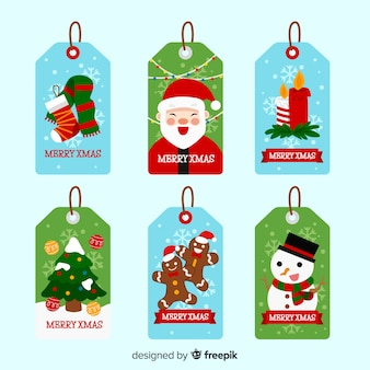 Collection d'étiquettes et de badges de noël