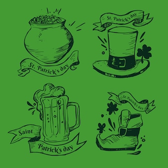 Collection d'étiquettes / badges de la saint-patrick