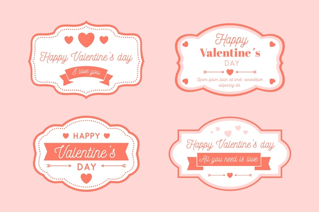 Collection d'étiquettes / badges vintage saint valentin