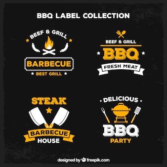 Collection d'étiquettes de barbecue dans le style plat