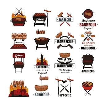 Collection d'étiquettes barbecue